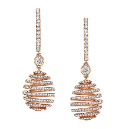 Rose Gold & White Diamond Spiral Fabergé Egg Earrings