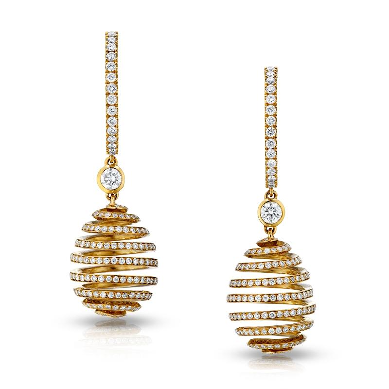Faberge Earrings - Spiral Diamond Rose Gold Earrings