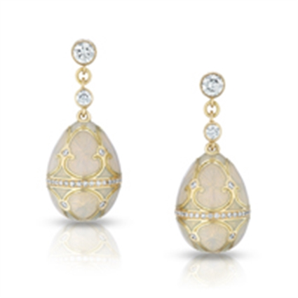 Fabergé Egg Earrings - Palais Tsarskoye Selo Diamond White Earrings
