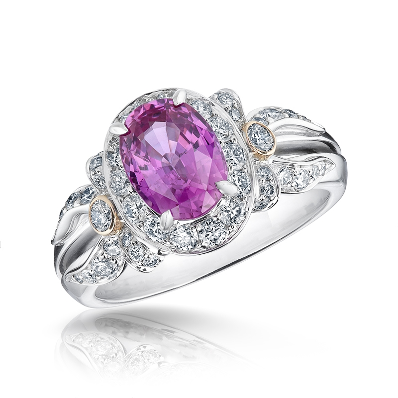 Pink Sapphire Ring - Fabergé Alix Pink Sapphire Halo Ring