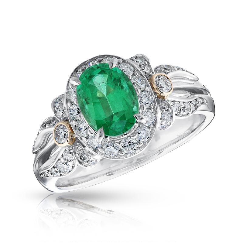 Platinum, Gold, Diamond & Emerald Halo Ring | Fabergé