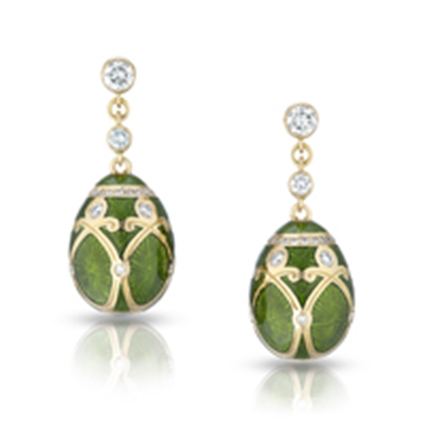 Fabergé Egg Earrings - Palais Yelagin Forest Green Earrings