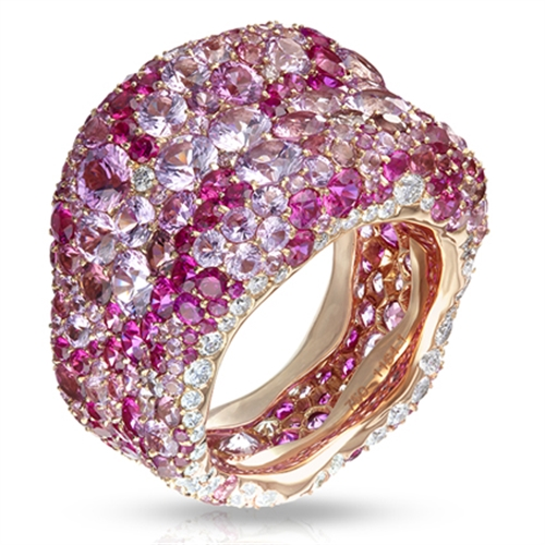Emotion 18K Rose Gold White Diamond & Pink Gemstone Encrusted Chunky Ring