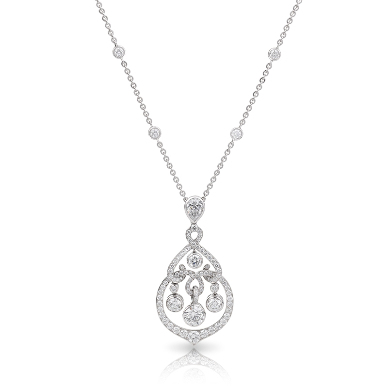 18K White Gold & White Diamond Pendant | Fabergé