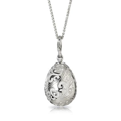 Fabergé Egg Pendant - Oeuf Baroque Gravé Or Blanc