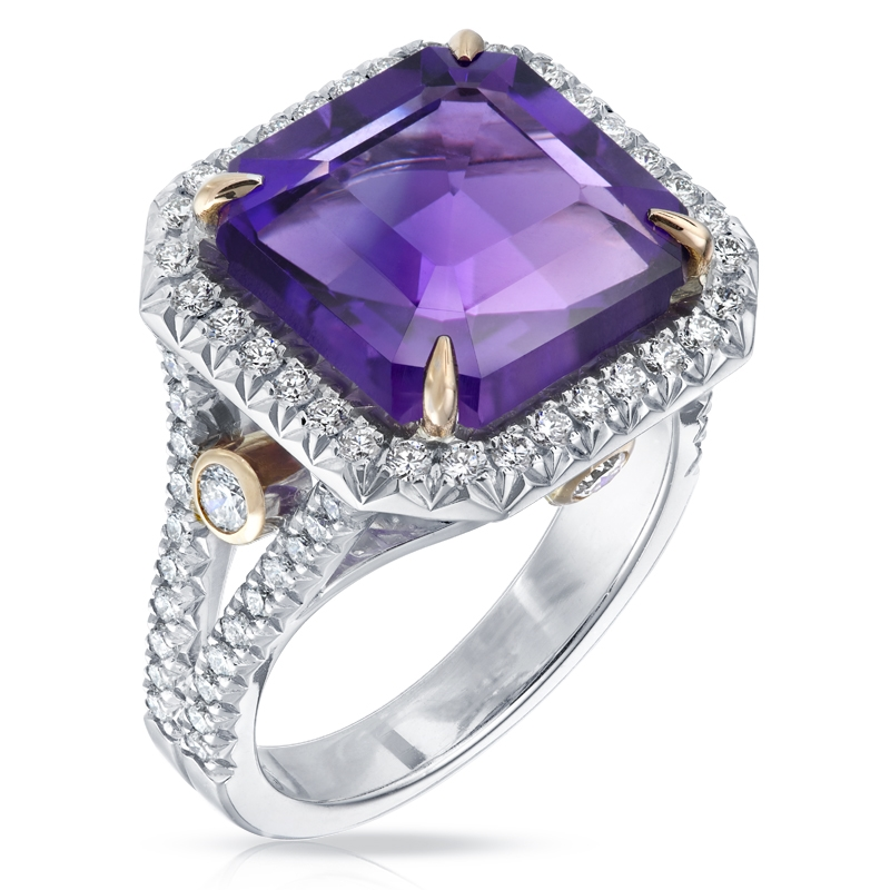 White & Rose Gold, Diamond & Amethyst Ring | Fabergé