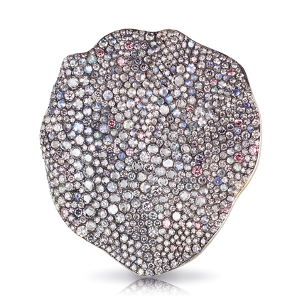 Fabergé Love Rose Petal Brooch – features 732 stones, including round blue, pink, and violet diamonds (3.19cts), round white diamonds (3.05cts), and round moonstones (3.82cts).
