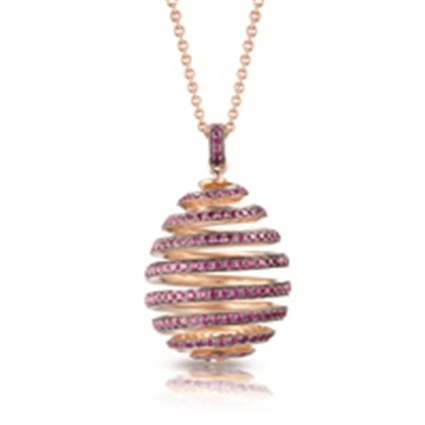 Rose Gold Ruby Spiral Egg Pendant | Fabergé