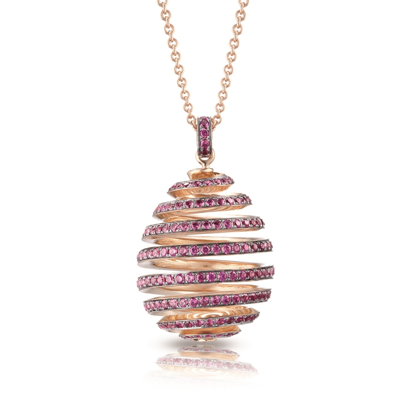Rose Gold Pavé Ruby Spiral Egg Pendant I Fabergé