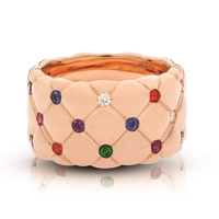 Gold and Gemstone Ring - Fabergé Treillage Multi-Coloured Rose Gold Polished Wide Ring