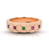 Gold and Gemstone Ring - Fabergé Treillage Multi-Coloured Rose Gold Polished Thin Ring