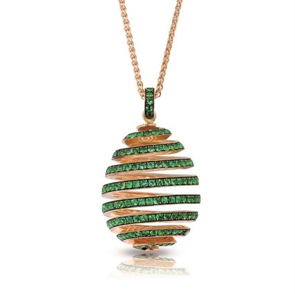 Yellow Gold Emerald Spiral Egg Pendant | Fabergé