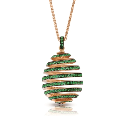 Yellow Gold Emerald Spiral Egg Pendant | Fabergé