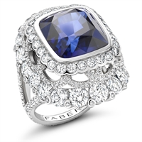 Cushion-Cut White Diamond & Sapphire Platinum Ring| Fabergé