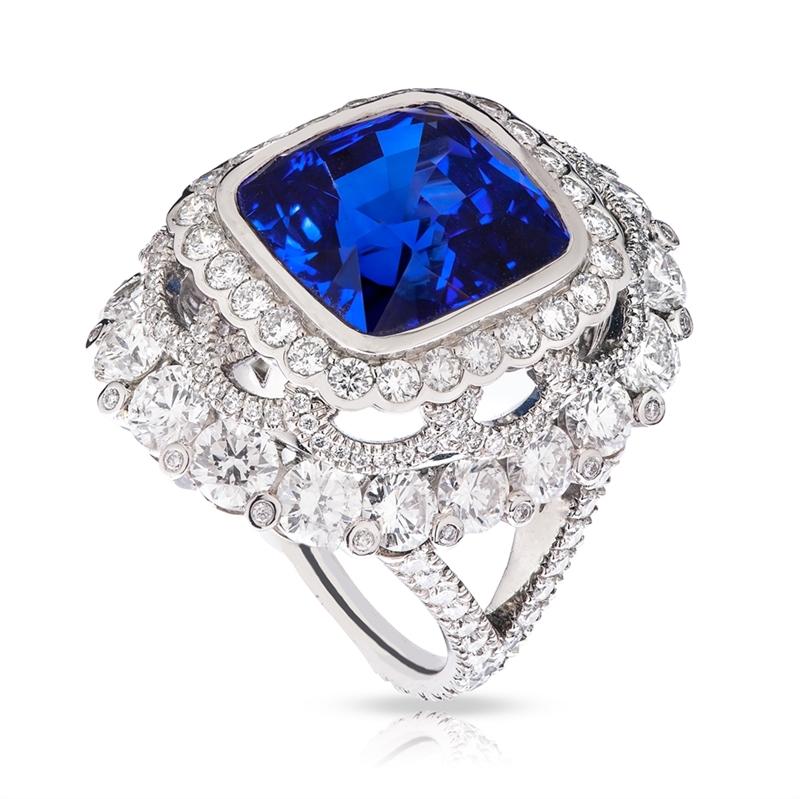Cushion-Cut White Diamond & Sapphire Platinum Ring| Fabergé