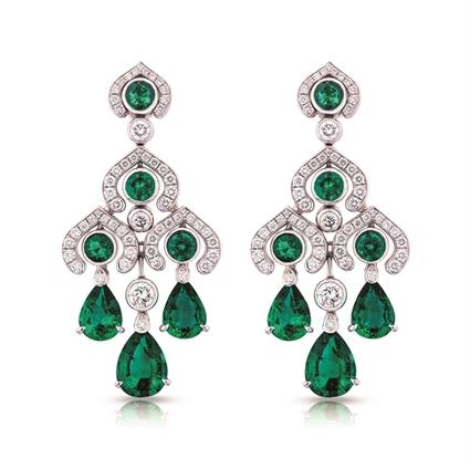 Emerald Earrings - Fabergé Emerald Chandelier Earrings