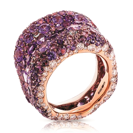 Rose Gold Diamond & Purple Gemstone Grand Ring | Fabergé