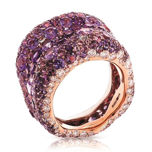 Emotion 18K Rose Gold White Diamond & Purple Gemstone Encrusted Chunky Ring