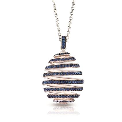 White Gold Pavé Blue Sapphire Spiral Egg Pendant I Fabergé