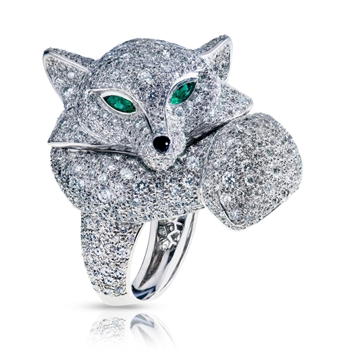 Le Renard 18K White Gold Diamond Encrusted Fox Ring With Emerald Eyes