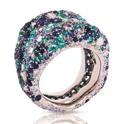 White Gold Diamond & Blue Gemstone Grand Ring | Fabergé