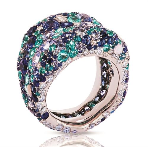 Emotion 18K White Gold Diamond & Blue Gemstone Encrusted Chunky Ring