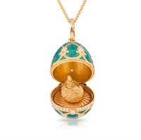 Fabergé Egg Pendant - Palais Tsarskoye Selo Turquoise Diamond Locket Pendant