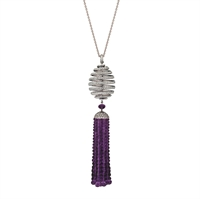 Diamond and Amethyst Pendant Necklace - Fabergé Spiral Diamond and Amethyst Tassel Pendant