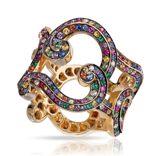 Rococo Yellow Gold, Diamond & Multicoloured Gemstone Ring | Fabergé