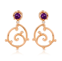 Amethyst and Diamod Gold Earrings - Fabergé Rococo Amethyst and Diamond Rose Gold Earrings