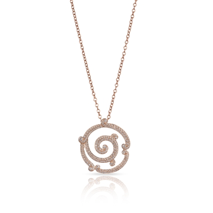 Diamond and Rose Gold Pendant Necklace - Fabergé Rococo Lace Diamond Rose Gold Pendant