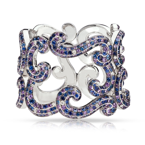 White Gold Diamond, Blue & Purple Sapphire Bracelet | Fabergé