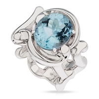 Gold and Aquamarine Ring - Fabergé Rococo Aquamarine White Gold Ring
