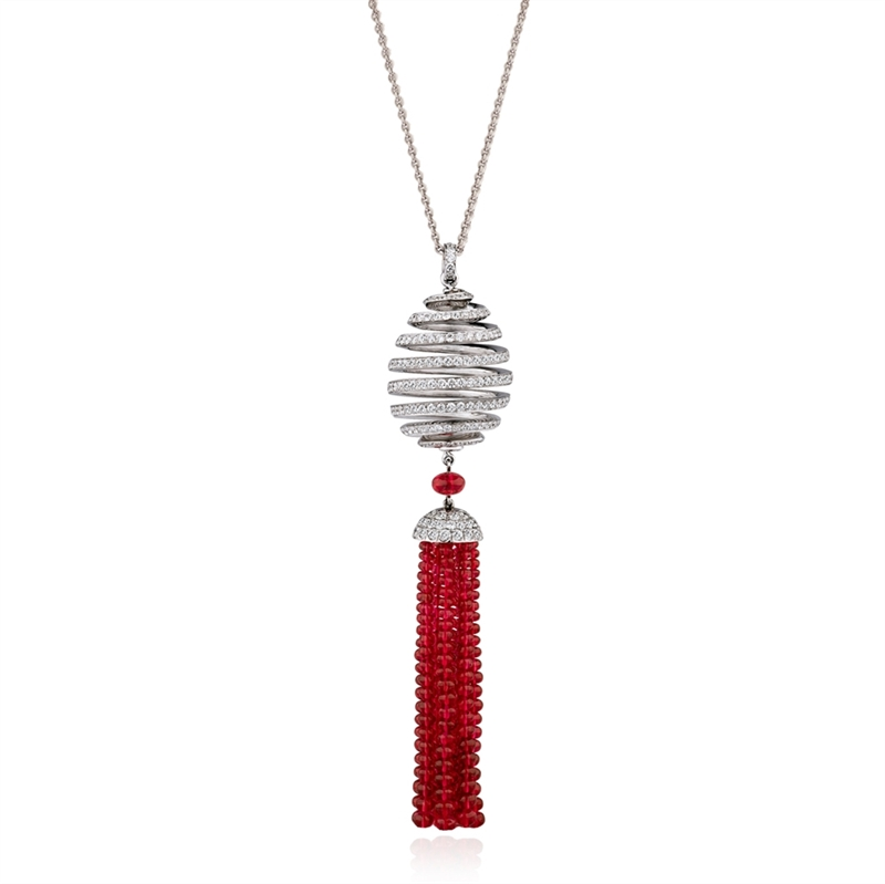 Diamond and Spinel Tassel Pendant  - Fabergé Spiral Diamond and Spinel Tassel Pendant