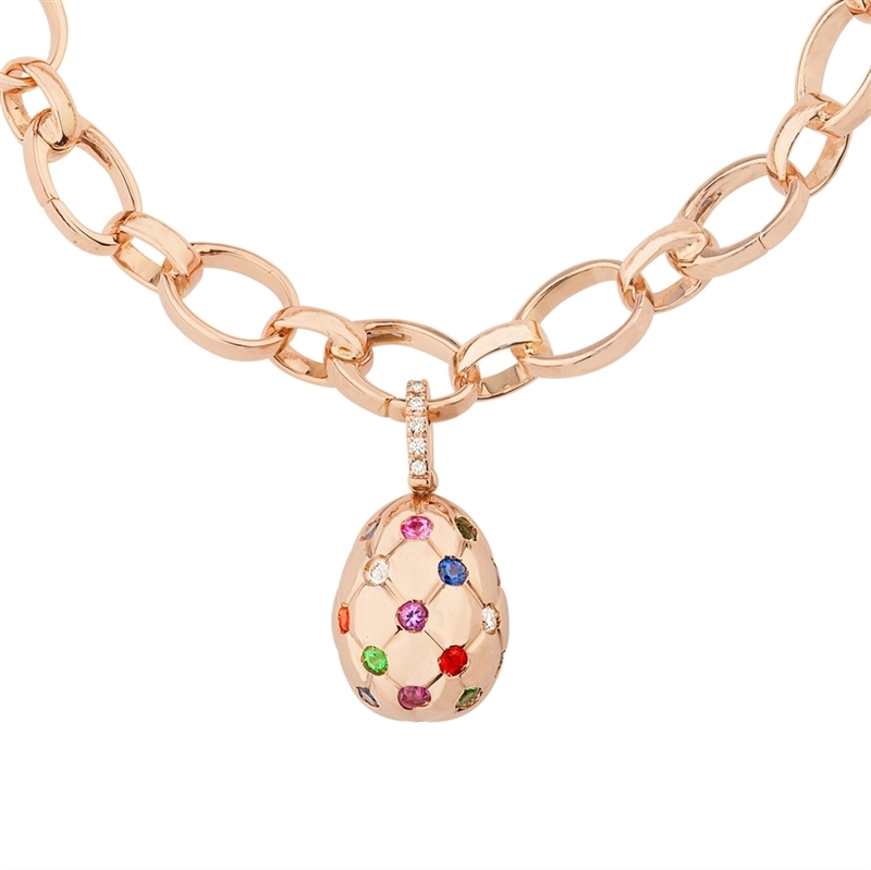 Multi-coloured gemstones in polished rose gold Fabergé egg charm - Treillage Diamond Rose Gold Charm