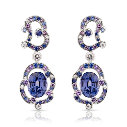 Rococo Lavender Spinel White Gold Earrings