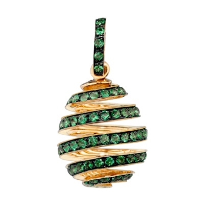 Yellow Gold & Emerald Fabergé Egg Spiral Charm