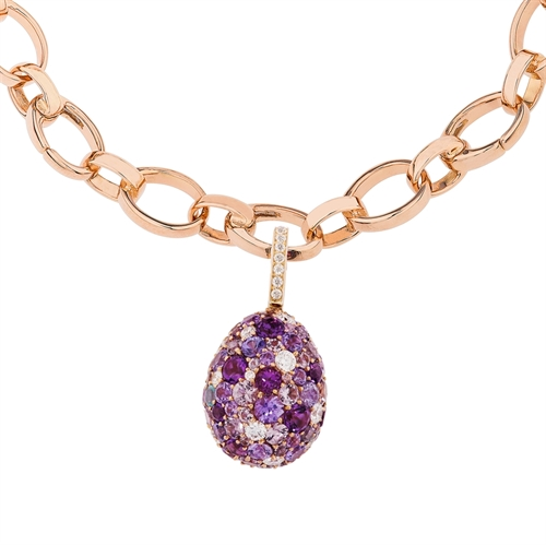 Yellow Gold Diamond & Purple Gemstones Egg Charm | Fabergé