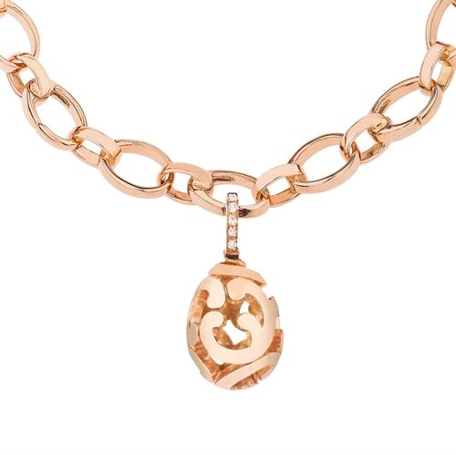 Rose Gold & Round White Diamond Fabergé Egg Charm