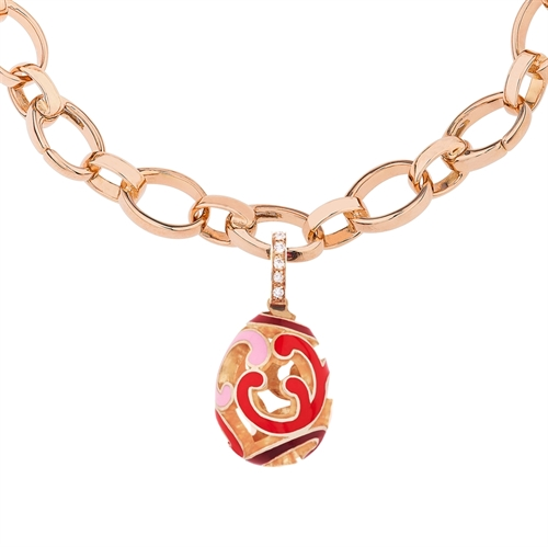 Rose Gold, Diamond & Red Enamel Egg Charm | Fabergé