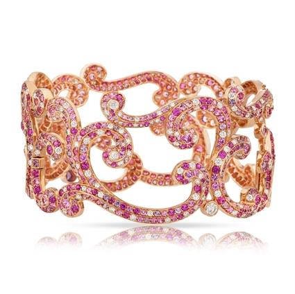 Rose Gold Diamond & Pink & Purple Sapphire Bracelet I Fabergé