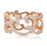 Faberge Rococo Lace Diamond Rose Gold Bangle
