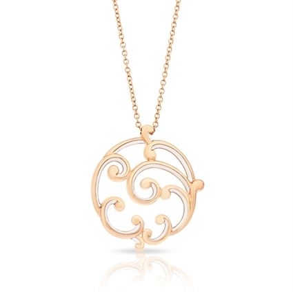 Large Rose Gold & White Enamel Pendant | Fabergé