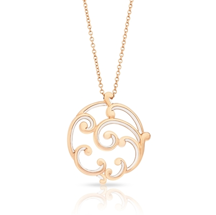 Rose Gold and White Enamel Pendant – Rococo White Enamel Rose Gold Large Pendant