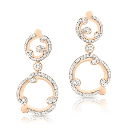 Fabergé Rococo Pavé Diamond Rose Gold Drop Earrings
