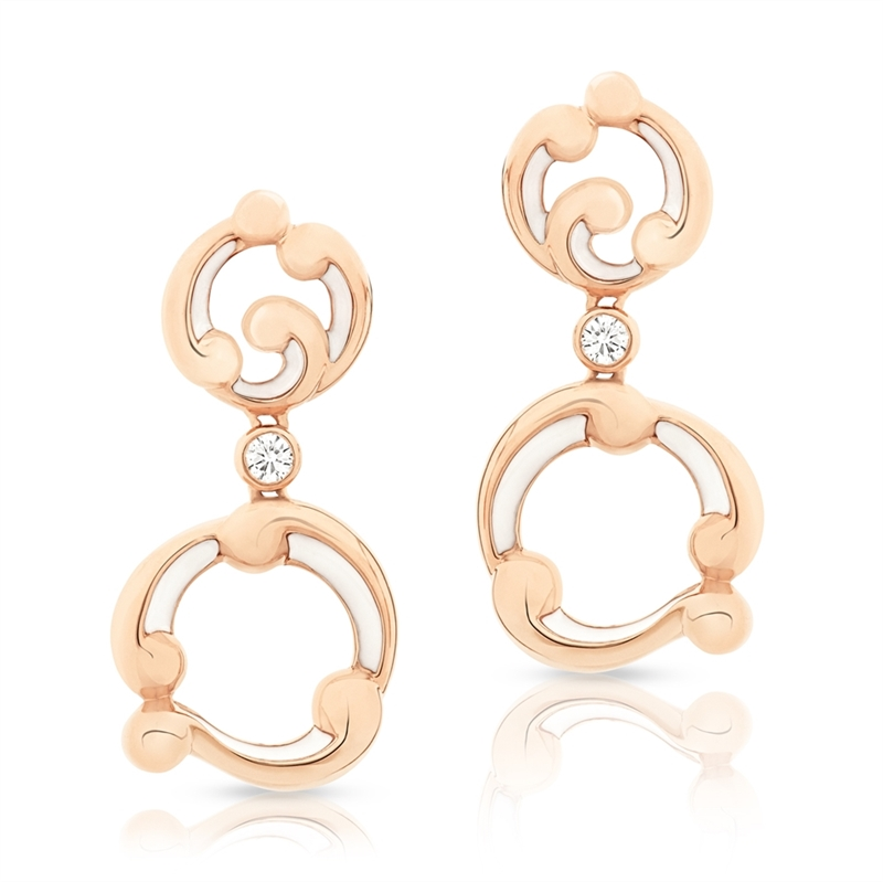 Rose Gold and White Enamel Drop Earrings – Rococo White Enamel Rose Gold Drop Earrings
