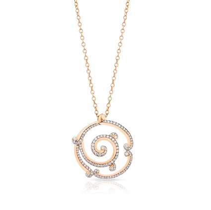 Pendant Necklace - Fabergé Rococo Pavé Diamond Rose Gold Pendant