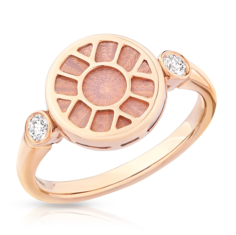 Rose Gold Ring – Heritage Pink Enamel Rose Gold Ring