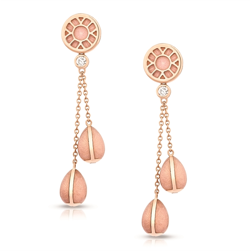 Gold and Diamond Long Drop Earrings – Heritage Pink Enamel Rose Gold Long Drop Earrings
