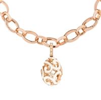 Fabergé Egg Charm - Rococo White Enamel Rose Gold Charm